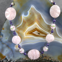Rose Quartz Pink Necklace, Unique Gemstone Necklace FE5779