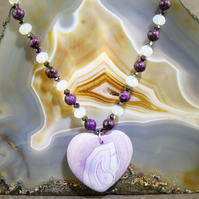 Lilac, Purple Heart Necklace,  Romantic Gemstone Necklace MS403