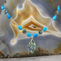Paua Shell Necklace, Paua Shell, Blue Gemstone Necklace MS394