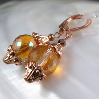 Rose Gold, Crystal Earrings, Crystal Dangle Earrings FE71