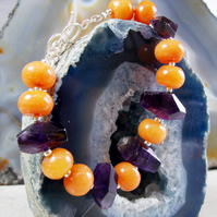 Orange Purple Gemstone Bracelet, Coral, Amethyst Bracelet MS78