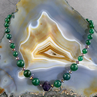 Gemstone Necklace, Green Agate, Purple Amethyst Necklace MS534