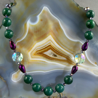 Green Agate Gemstone Necklace, Purple, Green Necklace MS585