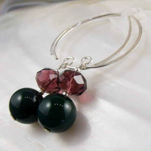 Green Agate Gemstone Earrings, Unique Long Drop Earrings  MS565
