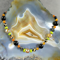 Black & Orange Gemstone Necklace MS583
