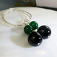 Green Black Long Gemstone Earrings, Long Dangle Earrings MS562