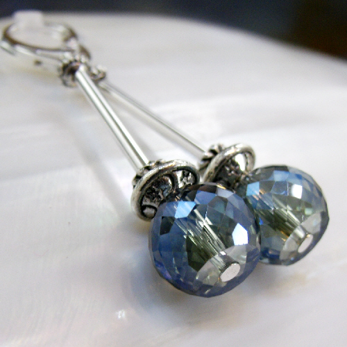 Long Drop Crystal Earrings, Long Blue Dangle Earrings FE77