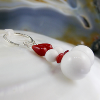 Red White Gemstone Earrings, Unique Jade Earrings MS566