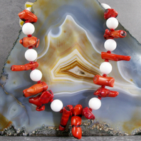 Red White Gemstone Necklace, Red Coral, White Jade Necklace MS586
