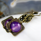 Long Dangle Earrings, Purple Agate gemstone Earrings FE82