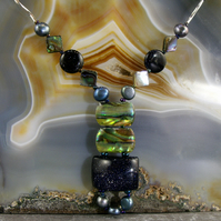 Paua Shell & Blue Goldstone Gemstone Necklace MS588