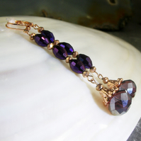 Rose Gold, Purple Crystal Earrings, Long Dangle Earrings FE81