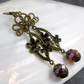Long Dangle Earrings, Bronze, Purple Crystal Dangle Earrings FE78
