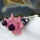 Purple Flower Crystal Earrings, Unique Drop Earrings FE79