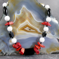 Chunky Gemstone Necklace, Red, White, Black Necklace MS587