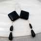Long Black Earrings, Black Onyx Earrings MS575
