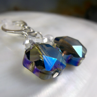 Blue crystal earrings, crystal drop earrings FE86