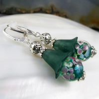 Green Bead Earrings, Green Flower Bead Earrings FE88