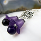 Amethyst Gemstone Earrings, Purple Flower Earrings FE90