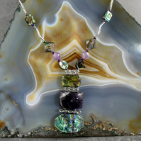 Paua Shell & Amethyst Necklace MS595