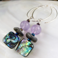 Paua Shell & Amethyst Earrings MS577