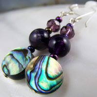 Paua Shell & Deep Purple Amethyst Earrings MS578