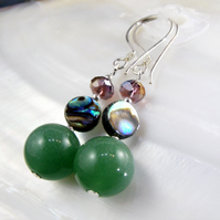 Green Earrings, Green Aventurine Earrings MS572