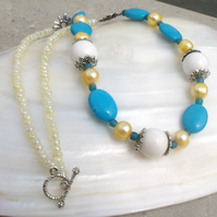 Turquoise & White Necklace, Summer Necklace FN3