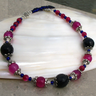 Cerise and Blue Necklace, Semi-Precious Gemstone Necklace.FN5