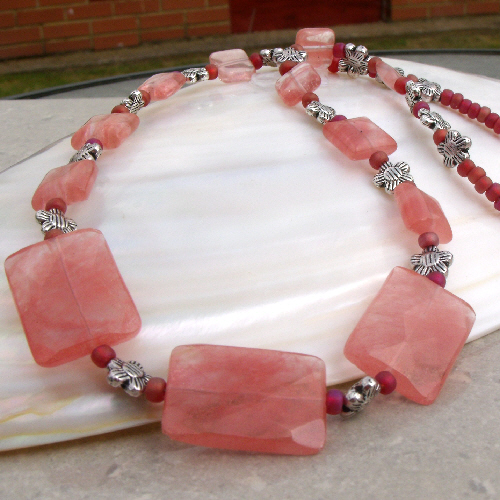 Strawberry Quartz Necklace, Coral Pink Necklace FE4