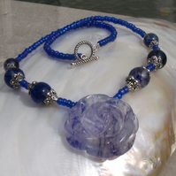 Blue Flower Necklace, Blue Necklace FN1