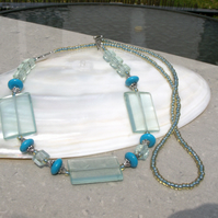 Aqua Quartz Necklace, Long Quartz Necklace FN7