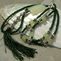 Long Green Necklace, Green Jade Tassel Necklace FN9