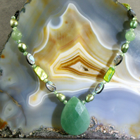 Green Necklace, Green Aventurine Necklace MS591