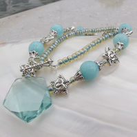 Aqua Quartz necklace, Sky Blue Necklace FN12