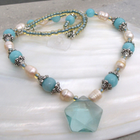 Quartz & Pearl Necklace, Blue Necklace FN13