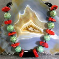 Chunky Gemstone Necklace, Turquoise, Coral, Onyx Necklace MS592