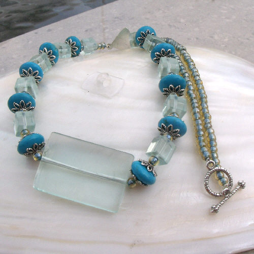 Aqua Quartz Necklace Design, Blue Necklace FN14