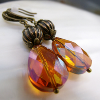 Amber Crystal Earrings, Unique Handmade Earrings FE95