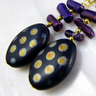 Czech Black Glass Bead Earrings, Unique Earrings FE92