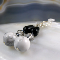 White Howlite Gemstone Earrings, Handmade Earrings MS579