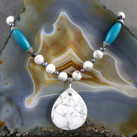 Gemstone Necklace, White Howlite Pendant Necklace MS591