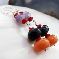 Long Gemstone Earrings, Long Drop Earrings MS582