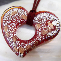Murano Style Glass Necklace, Red Heart Pendant  FGP1