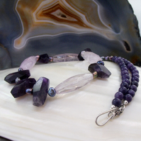 Amethyst Gemstone Necklace, Unique Purple Necklace MS603