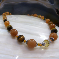 Red Aventurine & Tigers Eye Semi-Precious Stone Necklace FN21