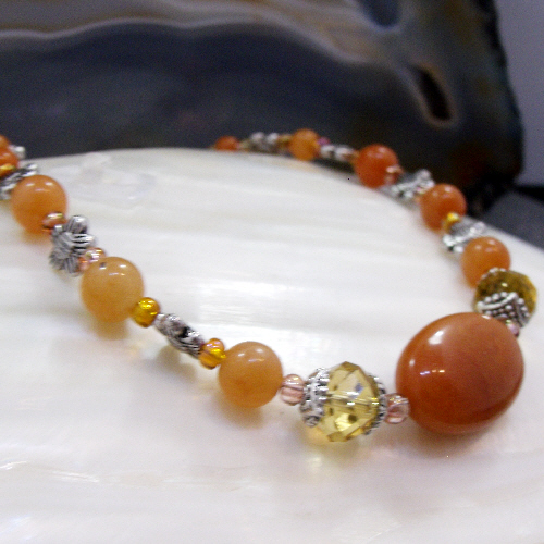 Crystal and Red Aventurine Semi-Precious Stone Necklace FN23