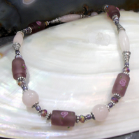 Glass Bead and Pink Rose Quartz Semi-Precious Necklace FN24