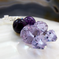Purple Crystal & Gemstone Earrings, Purple Crystal Drop Earrings  MS585