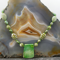 Green Jasper Semi-Precious Gemstone Necklace, Unique Handmade Necklace  MS607